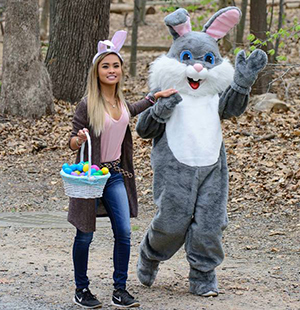 Easter bunny and helper.