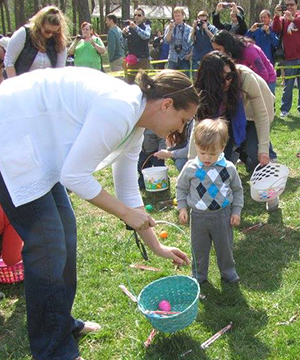 Easter egg hunting.