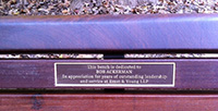 Ackerman bench plaque.