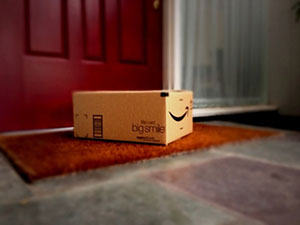 Amazon box on doorstep.