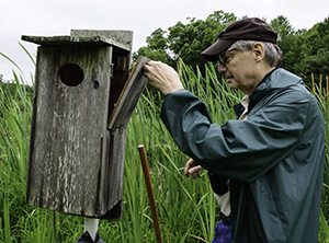 David Gorsline checks a bird box.