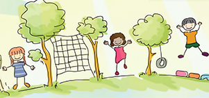 Drawing of children playing outdoors.