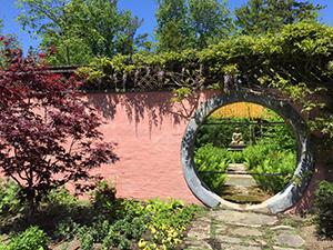 Wall with circular cutout.
